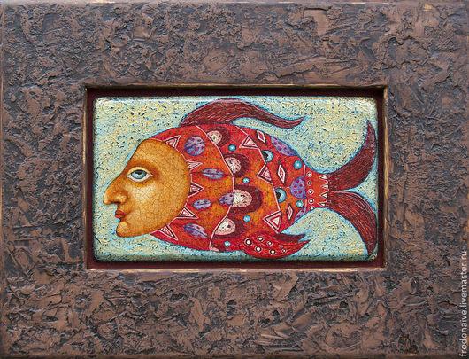 Фантазийные сюжеты ручной работы. Ярмарка Мастеров - ручная работа. Купить Рыбка. Handmade. Наив, декоративная живопись, картина на дереве