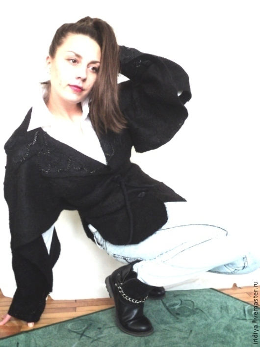 Пиджаки, жакеты ручной работы. Ярмарка Мастеров - ручная работа. Купить Валяная курточка ПАНТЕРА. Handmade. Черный, молодежная мода