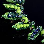 """Украшения ручной работы. Ярмарка Мастеров - ручная работа Бусы/колье лэмпворк """"Сладкий горошек"""" стекло, кристаллы. Handmade."""