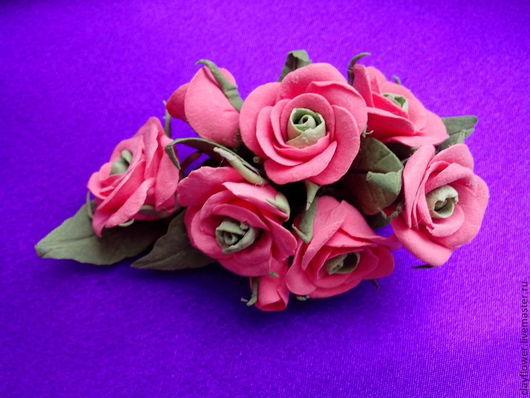 Броши ручной работы. Ярмарка Мастеров - ручная работа. Купить Брошь - заколка кустовая роза. Handmade. Брошь цветок