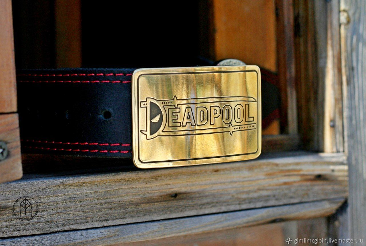 Leather belt with brass buckle ' Deadpool', Straps, Tolyatti,  Фото №1