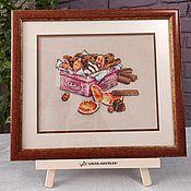 handmade. Livemaster - original item Cross stitch painting still life Orange cookies Cinnamon. Handmade.