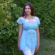 Одежда handmade. Livemaster - original item Nunofelted tunic Sea breeze with the scent of roses. Handmade.