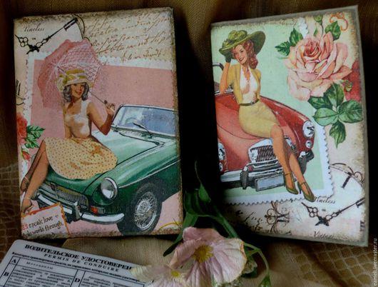 """Обложки ручной работы. Ярмарка Мастеров - ручная работа. Купить """"Автоледи"""" обложки для автодокументов. Handmade. Комбинированный, розы, паспортная обложка"""