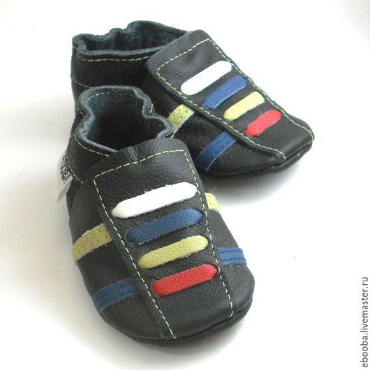 Кожаные тапочки чешки пинетки кроссовки чёрные шнурочки красный белый оливковый синий ebooba