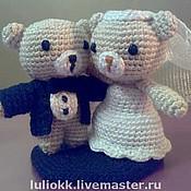 Свадебный салон ручной работы. Ярмарка Мастеров - ручная работа Свадебные мишки амигуруми высотой 5 см. Handmade.