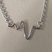 Украшения ручной работы. Ярмарка Мастеров - ручная работа кулон с кардиограммой. Handmade.