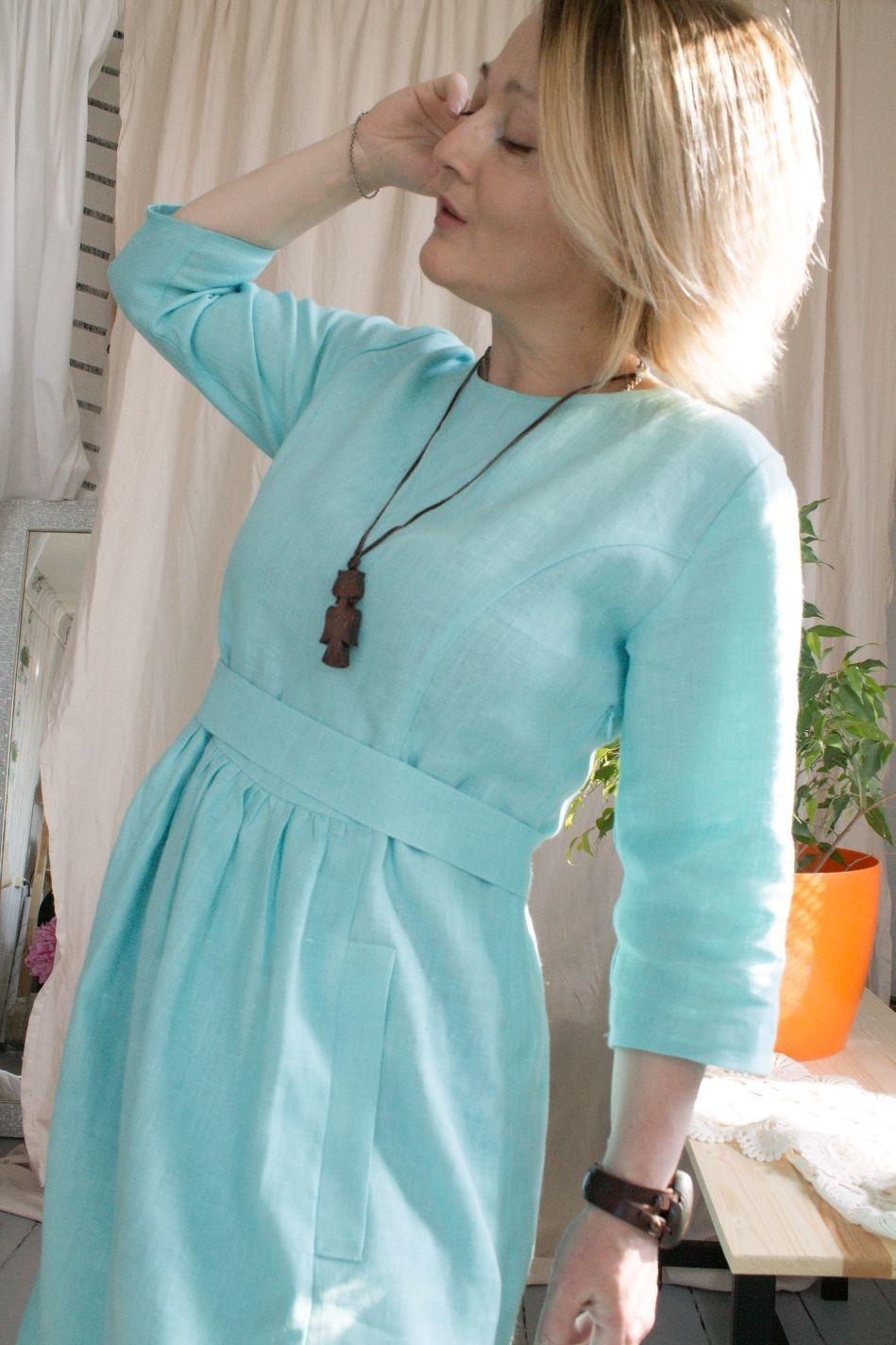Льняное платье Леди Di, Платья, Кобрин,  Фото №1