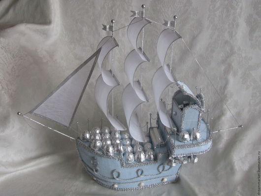 """Букеты ручной работы. Ярмарка Мастеров - ручная работа. Купить Корабль из конфет """"Голубая мечта"""". Handmade. Голубой, оригинальный подарок"""