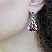 Украшения handmade. Livemaster - original item Classic Garnet earrings with zircons made of 925 GA0049 silver. Handmade.