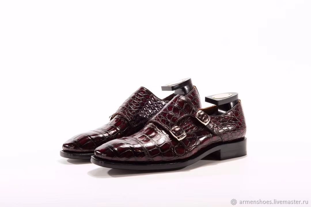 Men's double-monky shoes, made of crocodile skin, in Burgundy color, Shoes, Tosno,  Фото №1