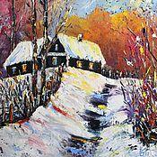 Картины и панно ручной работы. Ярмарка Мастеров - ручная работа Картина маслом Зима в деревне. Handmade.