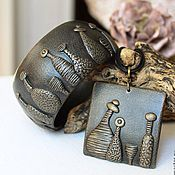 Украшения handmade. Livemaster - original item Set of polymer clay necklace and wide bracelet Bar Somerset. Handmade.