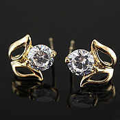 Материалы для творчества handmade. Livemaster - original item Earrings studs with cubic Zirconia gold plated South Korea (2513). Handmade.