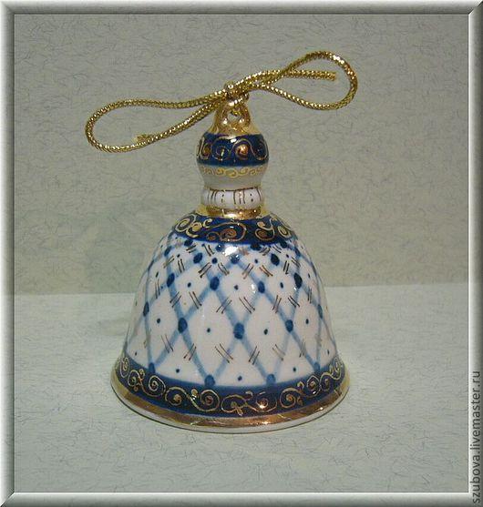 """Bells handmade. Livemaster - handmade. Buy Аuthor porcelain bell """" White-blue"""" by Svetlana Zubova.Bell"""