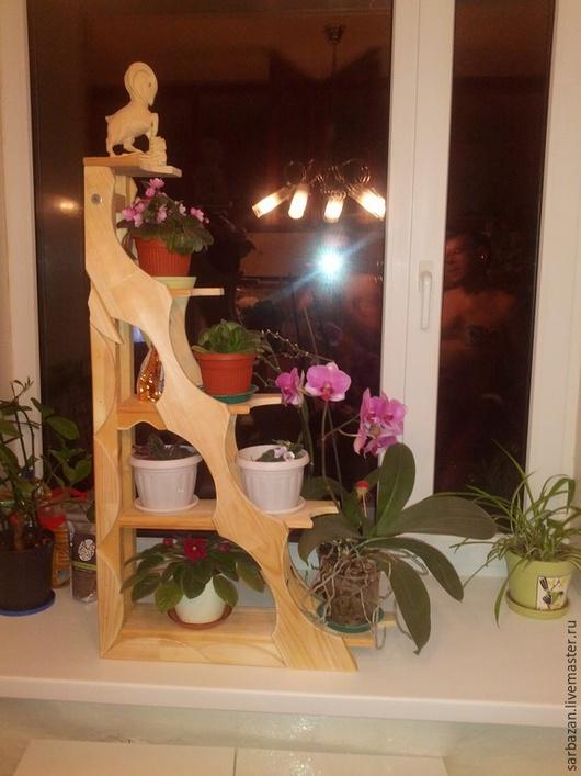 Мебель ручной работы. Ярмарка Мастеров - ручная работа. Купить Стеллаж под цветы на подоконник(левосторонний).. Handmade. Желтый, Дерево натуральное