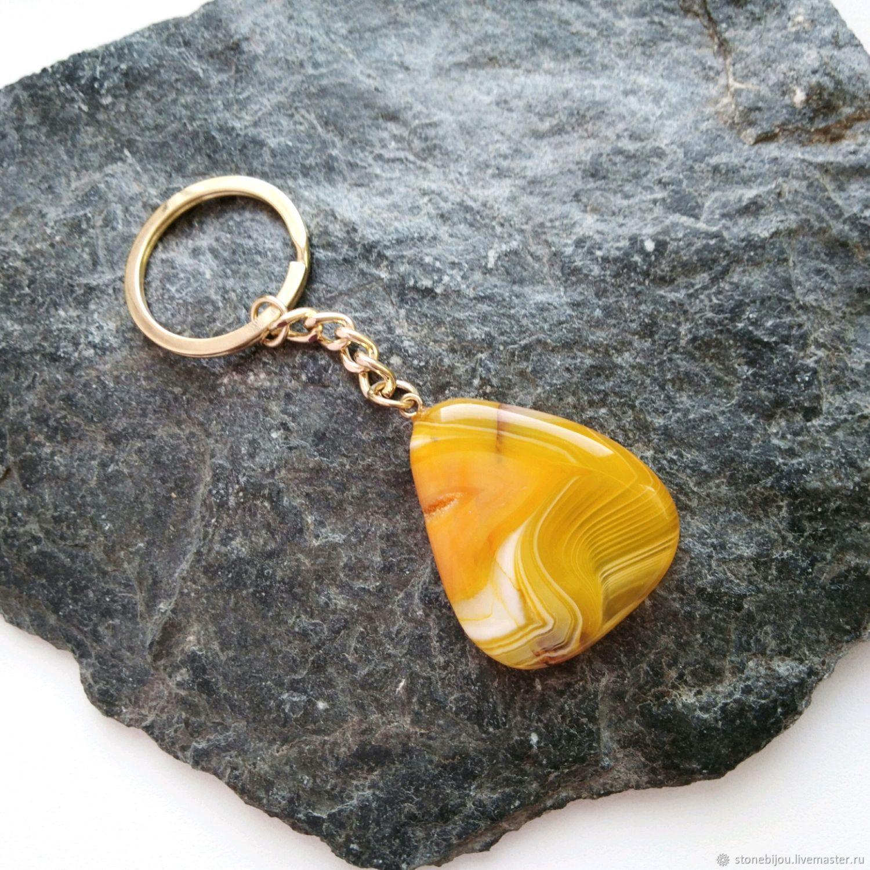 АГАТ Брелок из агата Брелок с агатом Оранжевый брелок с камнем купить