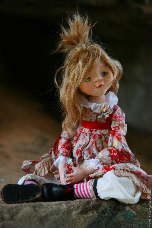 Коллекционные куклы ручной работы. Ярмарка Мастеров - ручная работа. Купить Маняша. Handmade. Бежевый, музыка, кожа