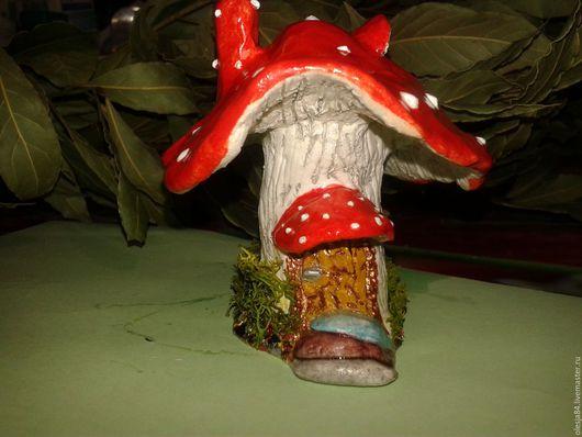 Статуэтки ручной работы. Ярмарка Мастеров - ручная работа. Купить Домик гриб мухоморчик.. Handmade. Комбинированный, подарок себе, мох
