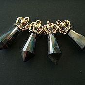 Материалы для творчества handmade. Livemaster - original item Crown glass pendants smoky/rainbow AB. Handmade.