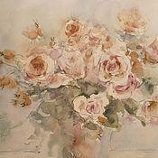 Картины ручной работы. Ярмарка Мастеров - ручная работа Кремовые розы. Картина акварелью. Handmade.