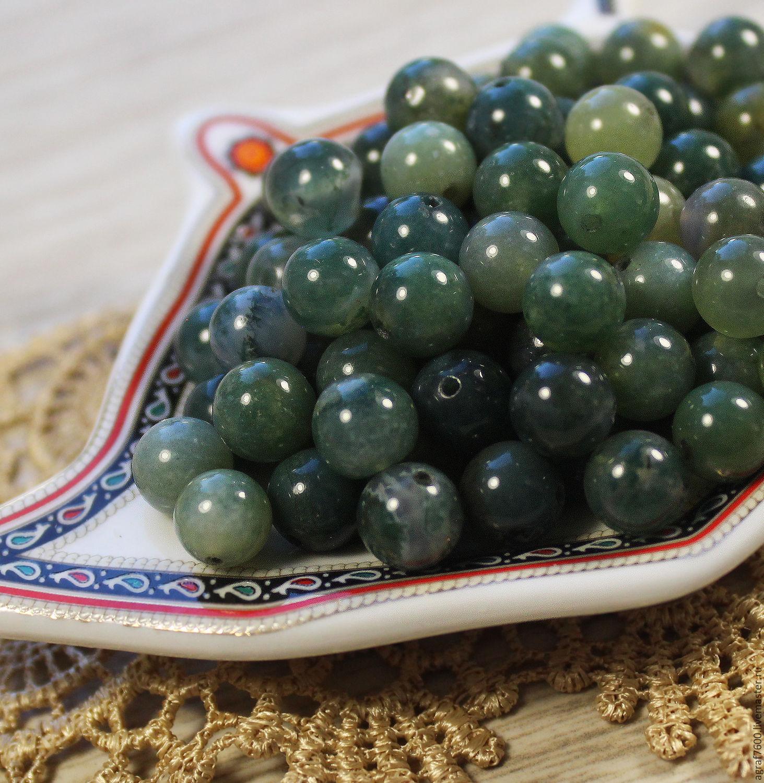 Агат моховой бусины 8 мм зеленый, Бусины, Соликамск, Фото №1