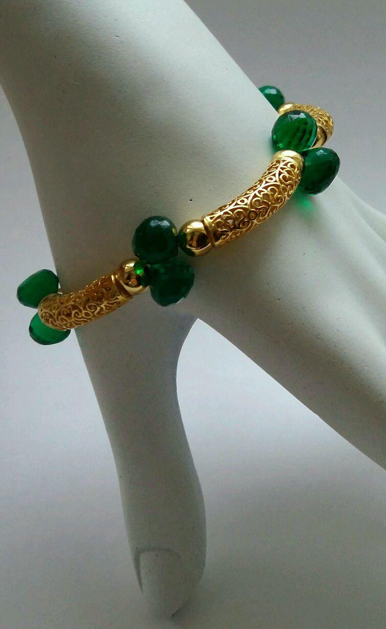 """Браслет """"Golden charm"""", из серебра и натуральных камней"""