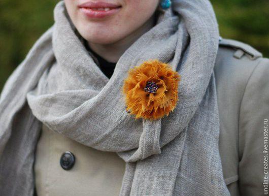 """Броши ручной работы. Ярмарка Мастеров - ручная работа. Купить Текстильная брошь """"Оранжевое зарево"""" бохо-стиль эко. Handmade."""