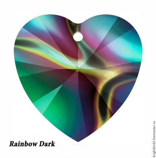 Для украшений ручной работы. Ярмарка Мастеров - ручная работа. Купить 10,14 мм Rainbow Dark 6628 подвеска СЕРЕДЕЧКО   Сваровски. Handmade.