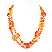 Работы для детей, handmade. Livemaster - original item Long bright orange beads natural agate. Handmade.