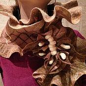 """Аксессуары ручной работы. Ярмарка Мастеров - ручная работа Валяный шарф """"Три шоколада"""". Handmade."""