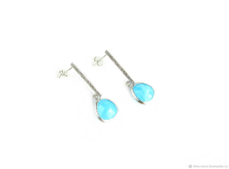 Blue Stud earrings 'Blue Ice' earrings with pendants, Earrings, Moscow,  Фото №1