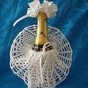 Свадебный салон ручной работы. Ярмарка Мастеров - ручная работа Нарядный вязаный  чехол для  бутылки Мадам. Handmade.