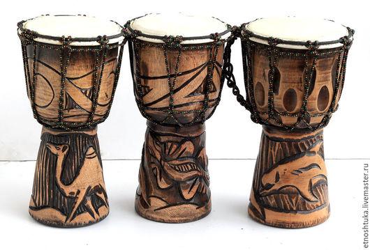 Ударные инструменты ручной работы. Ярмарка Мастеров - ручная работа. Купить Барабан Джамбе с резьбой 30 см. Handmade. Коричневый