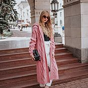Одежда handmade. Livemaster - original item Knitted coat of delicate pink color with a hood. Handmade.