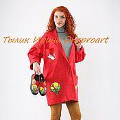 "Одежда handmade. Livemaster - original item Copy of Denim trench coat""Happy street""hand-painted. Handmade."