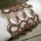 Украшения handmade. Livemaster - original item Copper Wide Openwork Bracelet Female Wire Boho Brown Bracelet Show Shelf. Handmade.