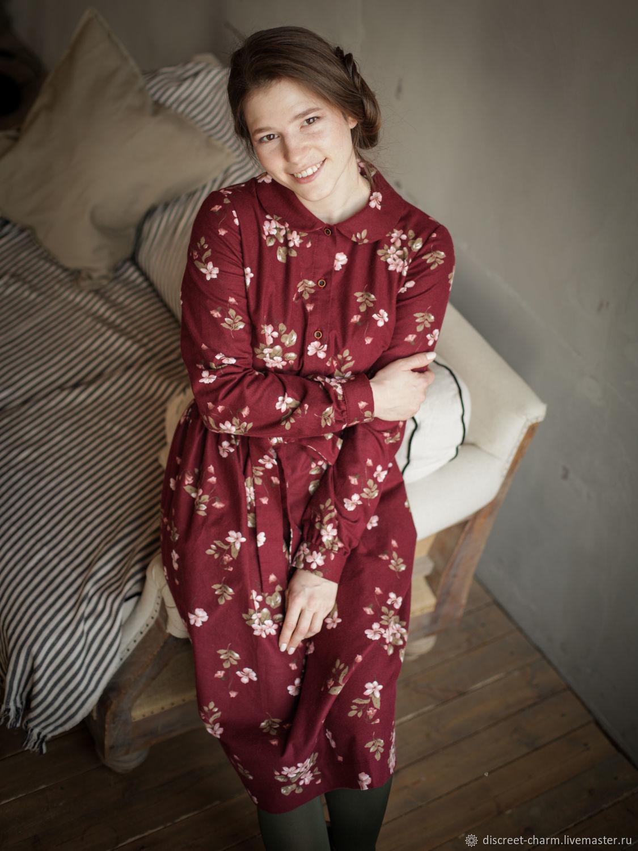 Бордовое платье в цветы с круглым воротничком, на пуговицах спереди, Платья, Томск,  Фото №1
