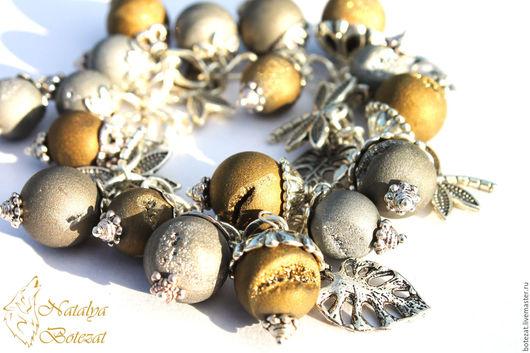 Украшение браслет друзового титанового агата друз серебристых золотистых агатов со стрекозами листиками на посеребренной фурнитуре. Подарок женщине девушке коллеге купить