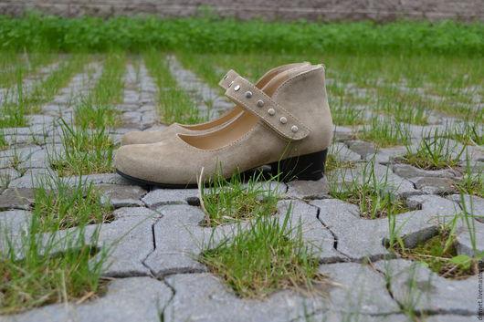 Обувь ручной работы. Ярмарка Мастеров - ручная работа. Купить Туфли женские с ремешком. Handmade. Бежевый, липучка, ручная работа
