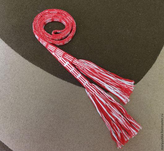 Ткачество ручной работы. Ярмарка Мастеров - ручная работа. Купить Красный архангельский пояс тканый на дощечках. Handmade. Тканый пояс