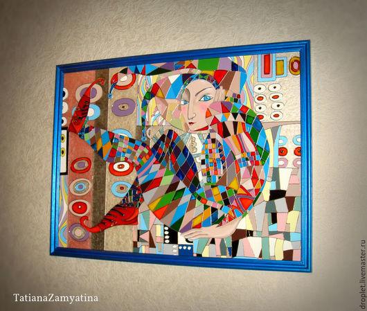 """Фантазийные сюжеты ручной работы. Ярмарка Мастеров - ручная работа. Купить Картина """"Арлекин"""" по мотивам работы Акжан Абдалиевой. Handmade."""