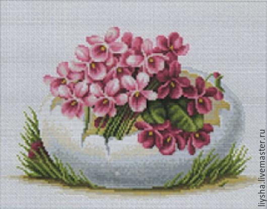Картины цветов ручной работы. Ярмарка Мастеров - ручная работа. Купить Весенний букетик. Handmade. Вышивка крестиком, для дома и интерьера