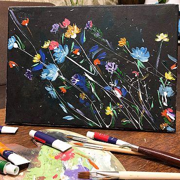 Картины и панно ручной работы. Ярмарка Мастеров - ручная работа «Космические цветы». Handmade.