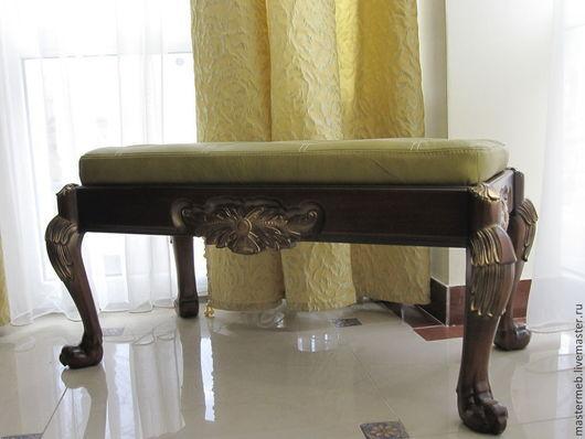 Мебель ручной работы. Ярмарка Мастеров - ручная работа. Купить Банкетка. Handmade. Банкетка, кожаный, резное дерево, кожа натуральная