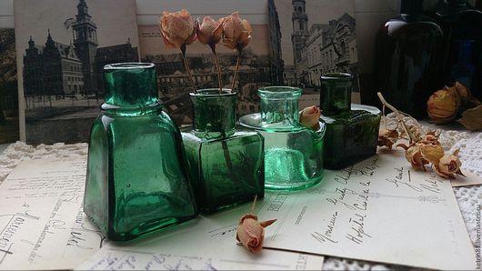 Винтажные предметы интерьера. Ярмарка Мастеров - ручная работа. Купить Бутылка старинная ЧЕРНИЛЬНИЦА (Германия) #26. Handmade. Зеленый, немецкая