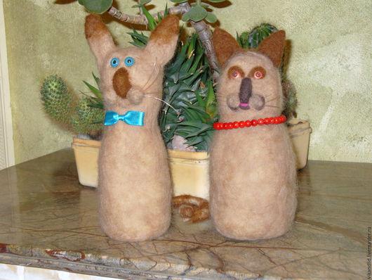 """Игрушки животные, ручной работы. Ярмарка Мастеров - ручная работа. Купить валяная игрушка """" Маська и Муська"""". Handmade. Комбинированный"""