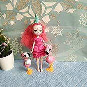 Одежда для кукол ручной работы. Ярмарка Мастеров - ручная работа Одежда для кукол: платье Фламинго для Энчантималс. Handmade.