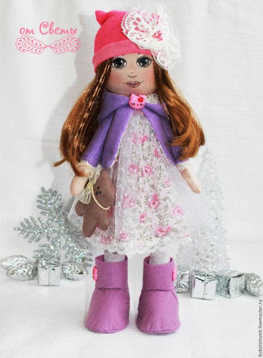 Куклы тыквоголовки ручной работы. Ярмарка Мастеров - ручная работа. Купить Текстильная кукла. Handmade. Сиреневый, пряжа