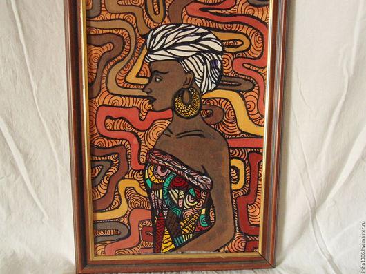Люди, ручной работы. Ярмарка Мастеров - ручная работа. Купить Картина Африканка. Handmade. Коричневый, африканский стиль